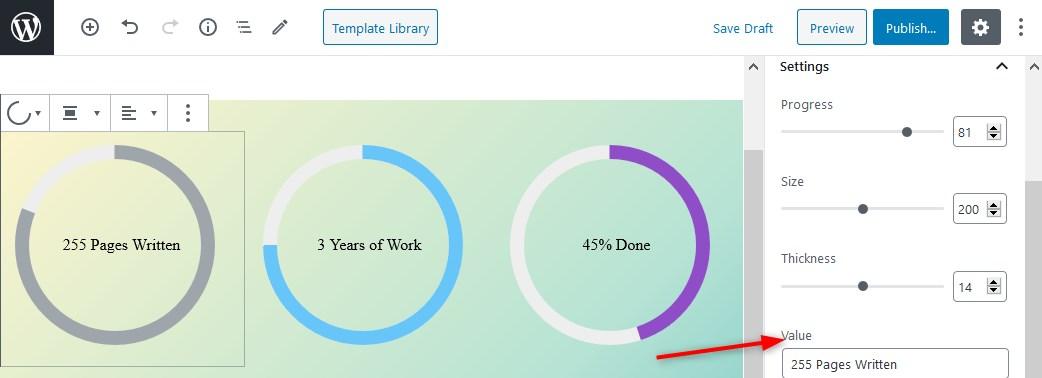 getwid plugin circular progress bar value