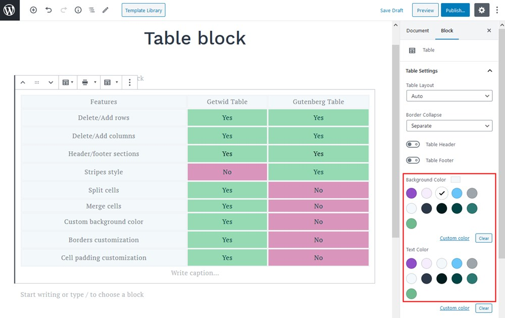 gutenberg block table colors