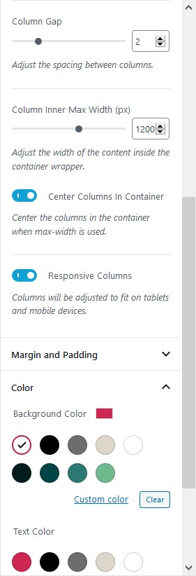 advanced columns blocks settings