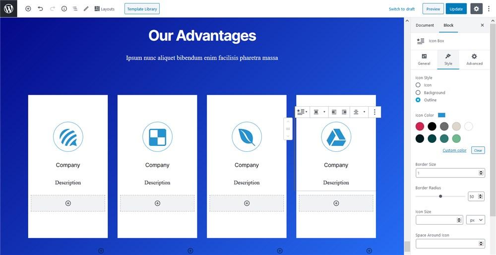 gutenberg icons getwid plugin