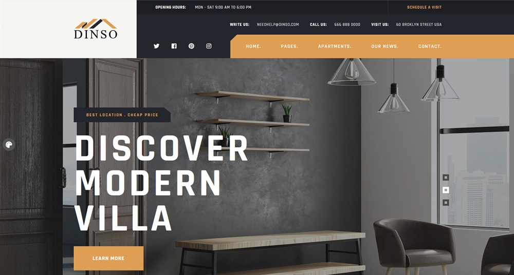dinso wordpress apartment website template