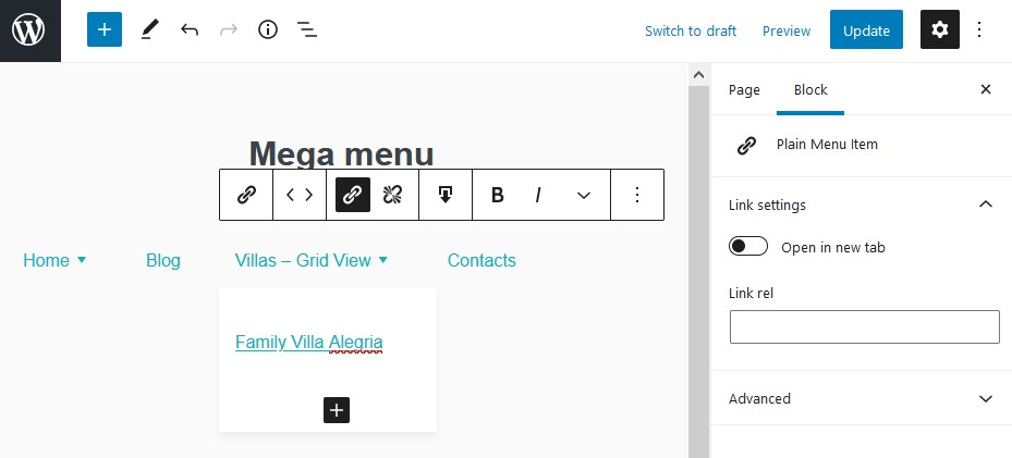 plain menu item wordpress navigation block