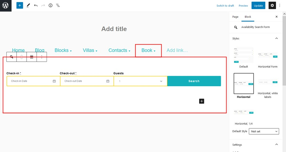 wordpress navigation block plugin booking form