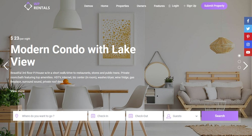 wp rentals apartment website template