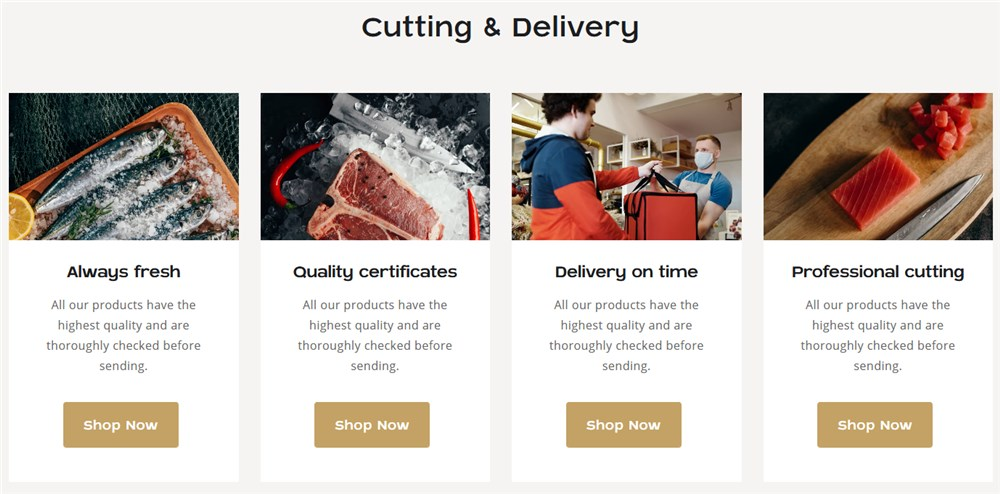 services wordpress fish and meat website template