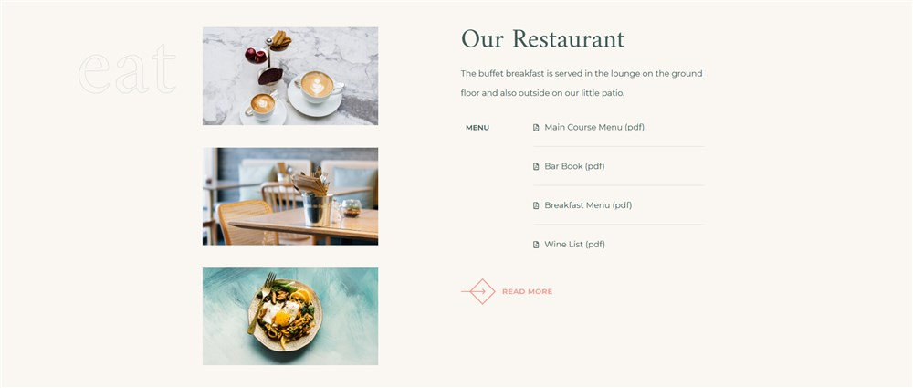 albatross hotel booking elementor template restaurant