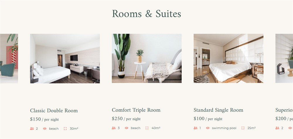 rooms listing albatross free hotel theme