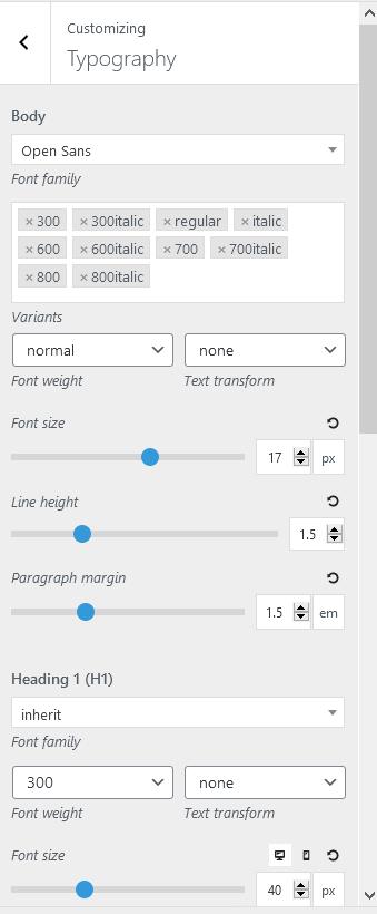 oceanwp vs astra typography settings generatepress