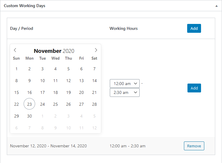 wordpress booking plugin custom working days