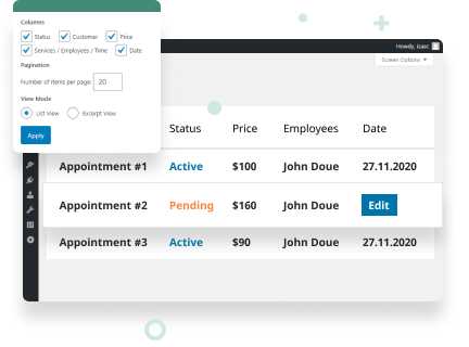 Manage Appointment Bookings on The Backend