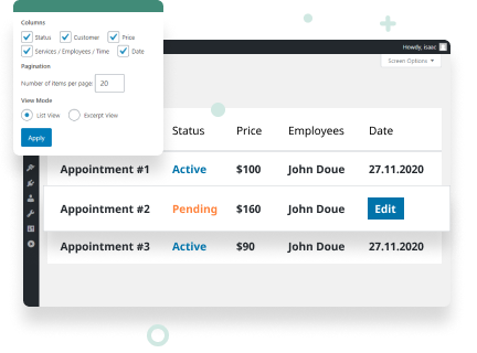 Easy Appointment Management on the Dashboard