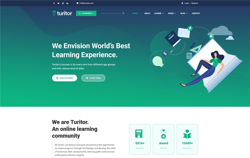 turitor wp course theme