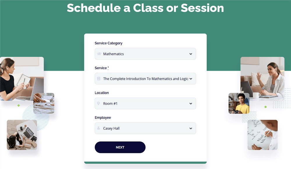 wp education theme booking wizard