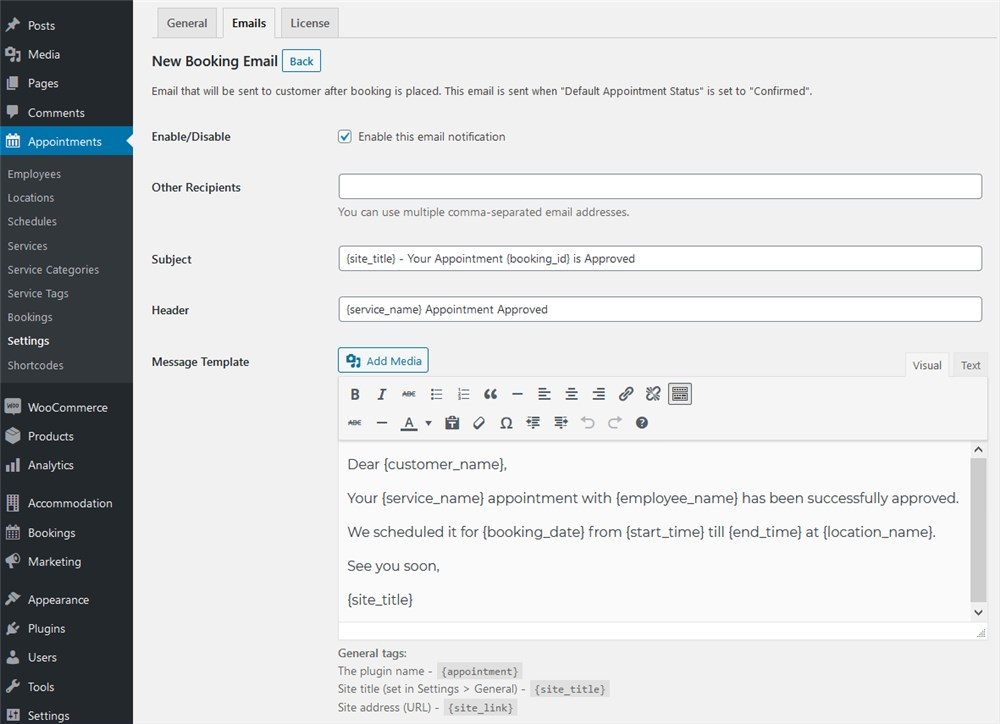 customer email wordpress appointment booking
