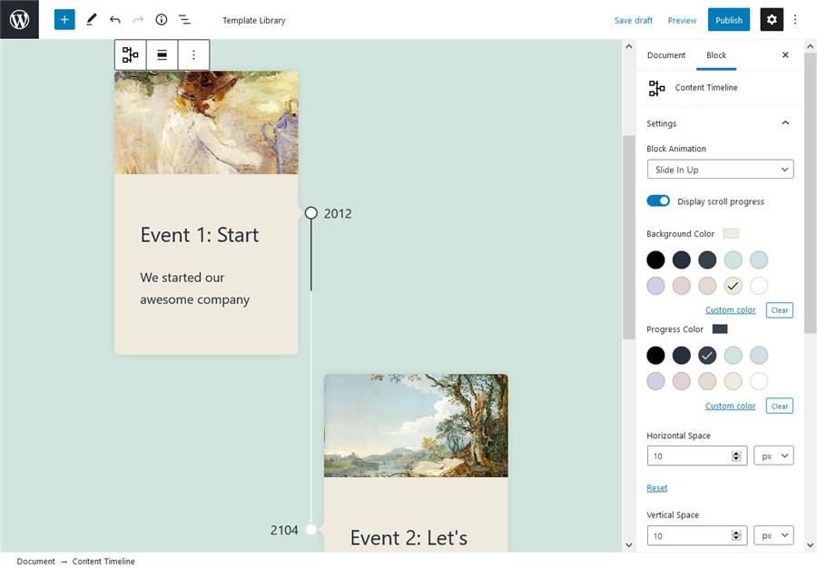 timeline events wordpress block