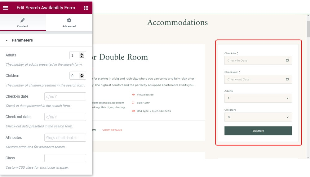 Elementor hotel booking template albatross