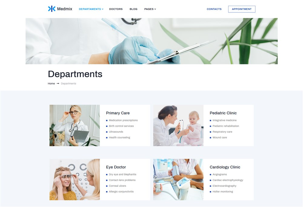 clinic wp theme departments