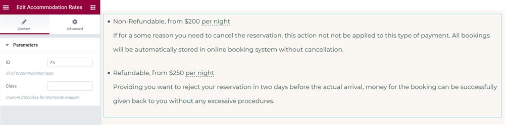 elementor booking plugin rates