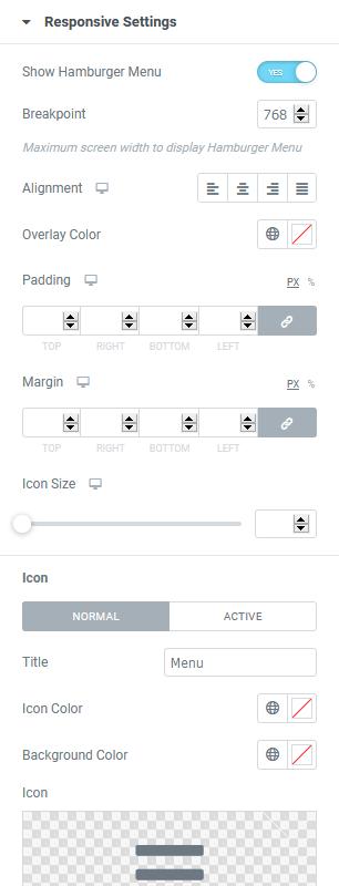 mobile menu settings