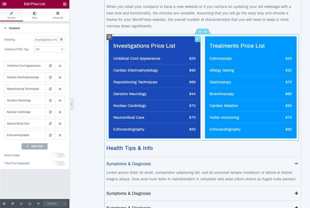 pricing list medial theme wordpress