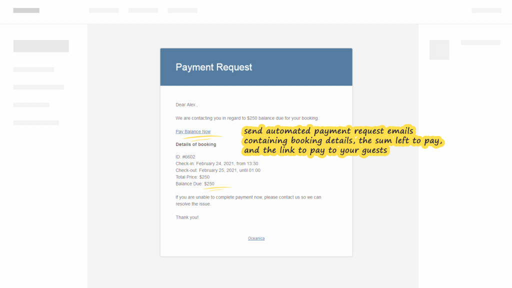 Payment request - email
