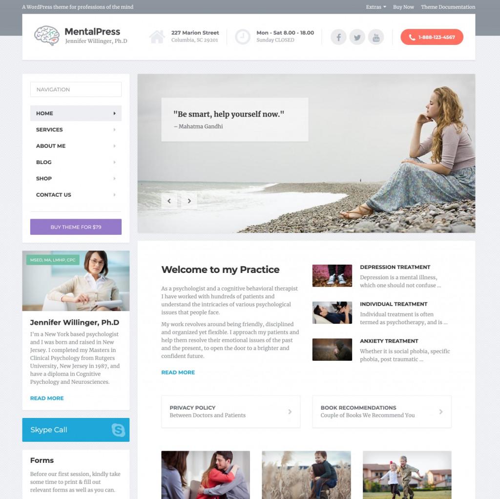 MentalPress - Psychology WordPress Heathcare Theme