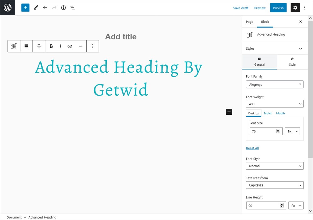 advanced heading getwid