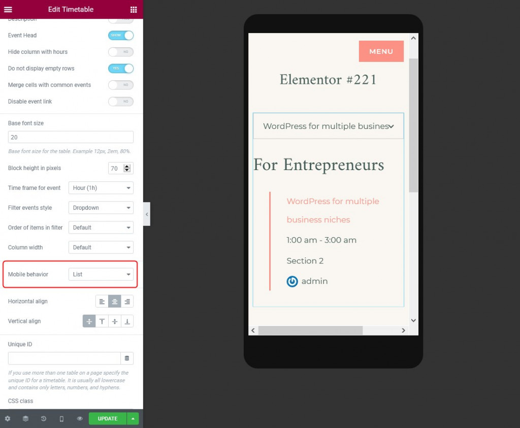 mobile behavior elementor timetable widget
