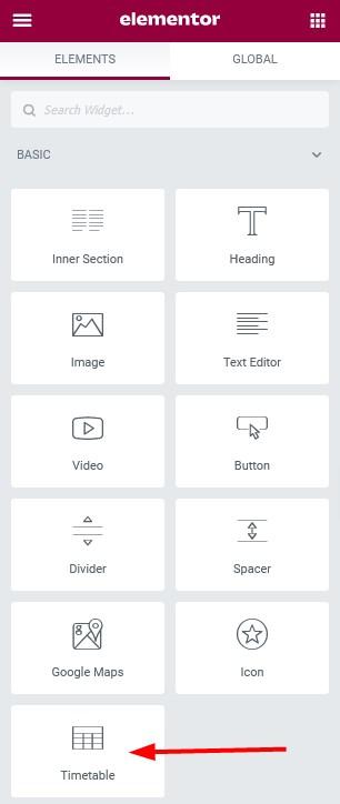 timetable basic widgets