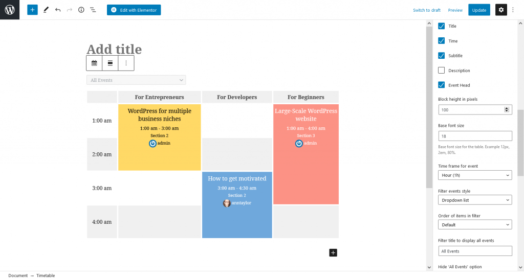 timetable block editor