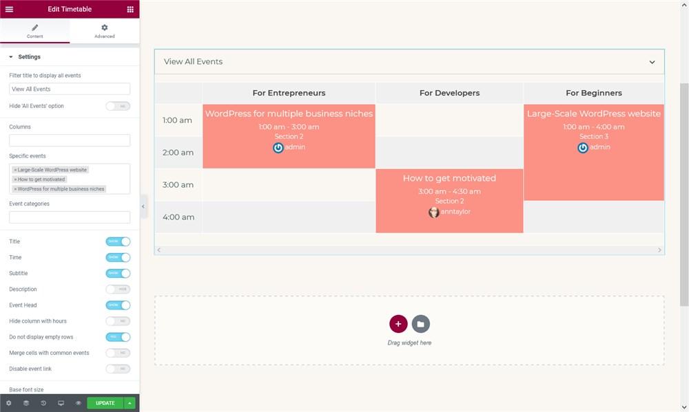 timetable elementor widget