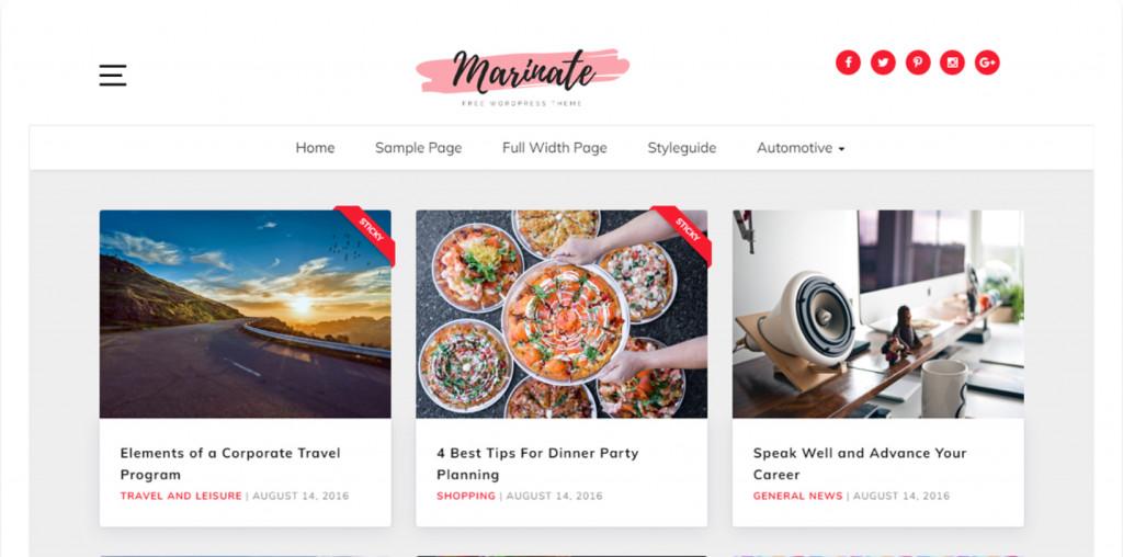 Marinate - Food Blog WordPress Template