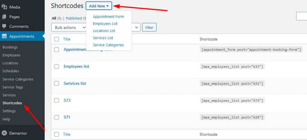 adding shortcodes motopress appointment booking plugin