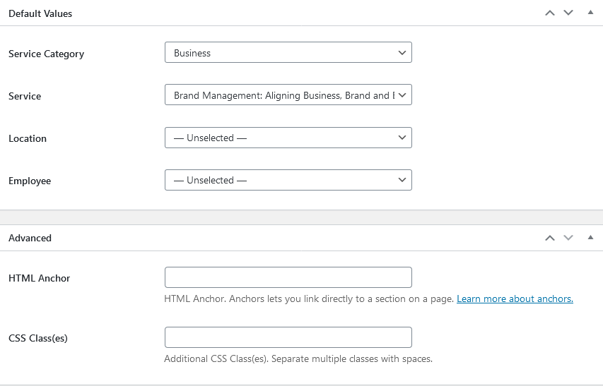 default values appointment booking form