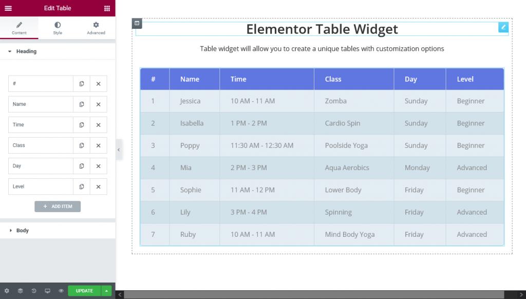 elementor table widget