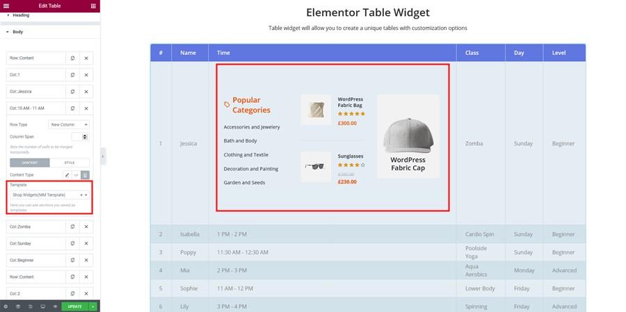 elementor table widget template integration