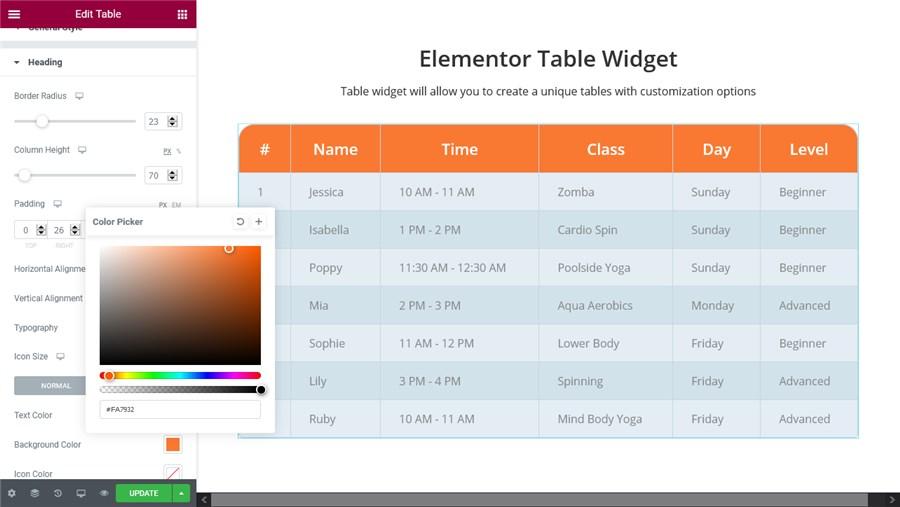 heading customization table widget