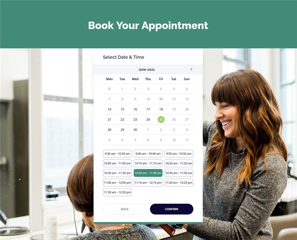 booking wizard hair salon site