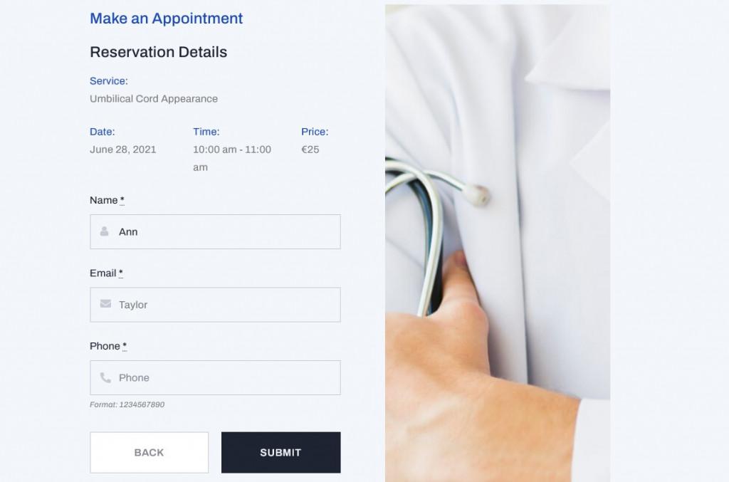 client details booking