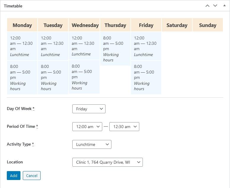 staff timetable