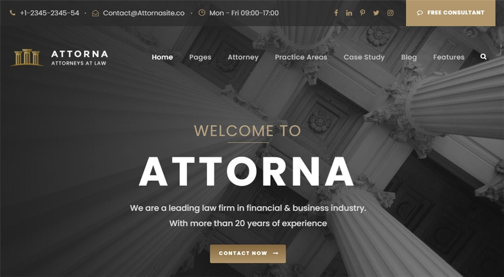WP Theme Attorna for Lawyers