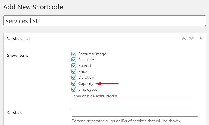 capacity service list shortcode