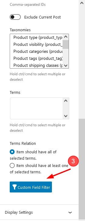 custom filed filter