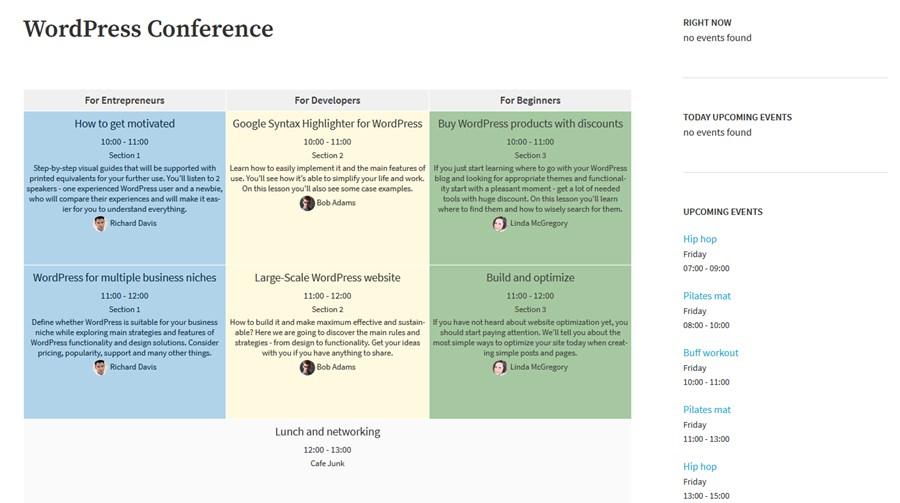 timetable wordpress plugin
