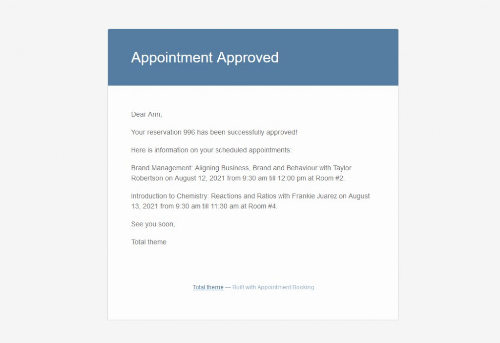 appointment approved email
