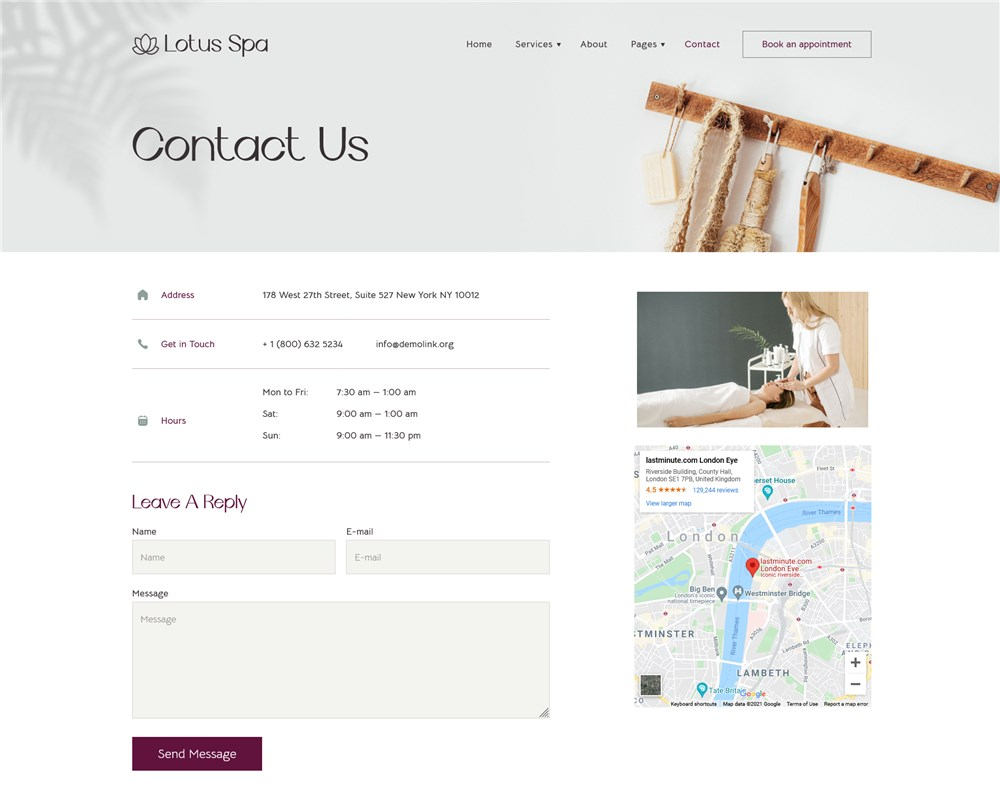 salon website contacts page