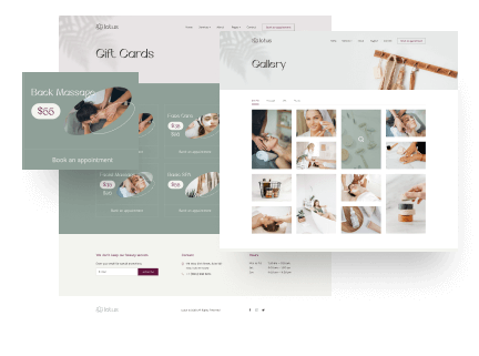 Service, Gift Card & Portfolio Pages