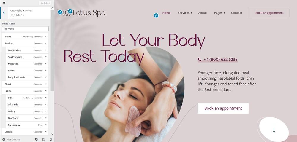 salon website on WordPress menus