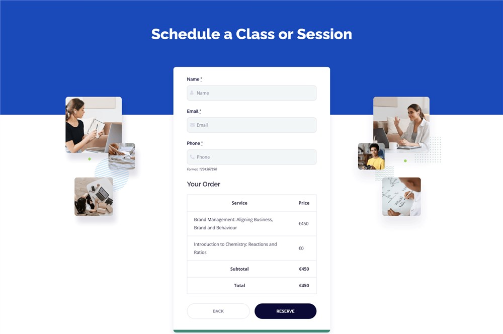 services checkout page