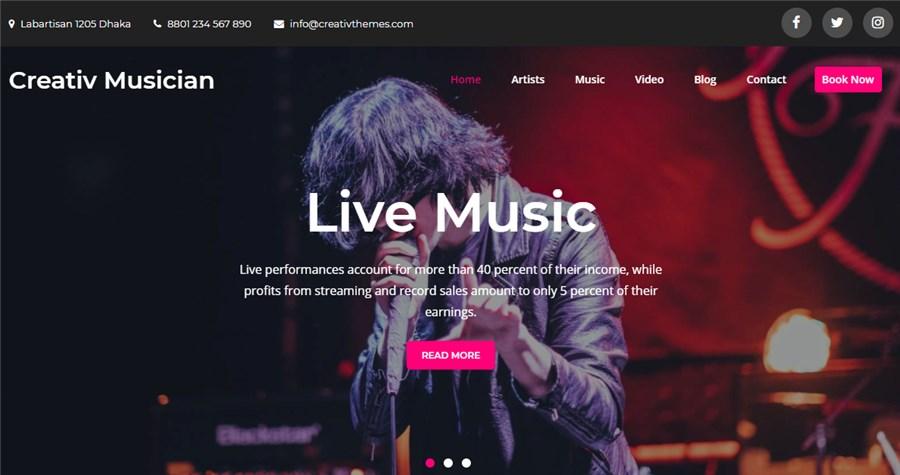 WP Free Theme Creativ Musician
